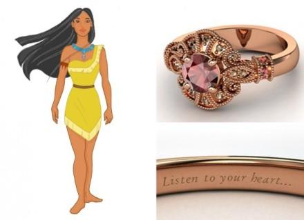 Poderoso como Pocahontas a versão joia da princesa leva ouro rosé com granada vermelha e quartzos negros